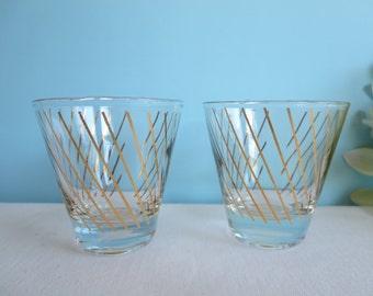 Vintage Shot Glasses - Gold Striped Glasses