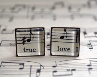 True Love Music Cufflinks, Square Cuff Links, Words and Music