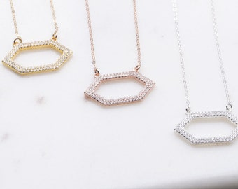 Pave CZ Large Hexagon Necklace in Silver, Gold, Rose Gold, Statement Necklace, Geometric Jewelry, Hexagon Geometric Necklace, CZ Necklace