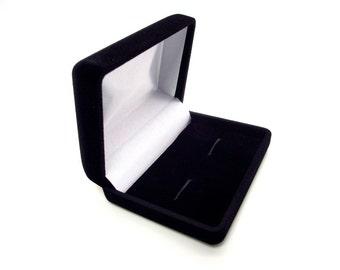 The Cufflink Keeper - Black Flocked Velour Cufflink Gift Box - Cuff Link Gift Box - Cufflink Box