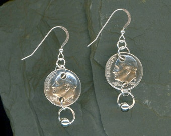 30th Anniversary Gift 1986 Dime Earrings 30th Birthday Gift Coin Jewelry 1986 Dimes