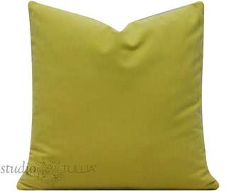 Velvet Pillow Cover  - citron - chartreuse - yellow green - cotton velvet - 20X20 - decorative pillow cover - ready to ship
