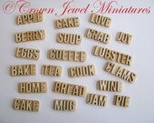 1:12 Natural Wood Letter Signs For Dollhouse Kitchen, Clam Shack & Bakery by IGMA Artisan Robin Brady-Boxwell - Crown Jewel Miniatures
