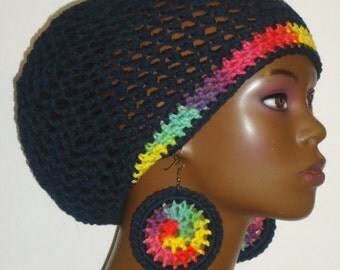 100% Cotton Black Colorful Trim Cotton Crochet Beret Tam with Earrings by Razonda Lee Razondalee Ready to Ship