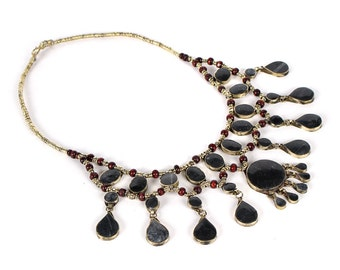 Vintage Tribal Kuchi Onyx Necklace