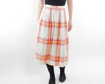 "Vintage 70's plaid skirt, off white, red/orange, navy, yellow, large pleats, pockets, below the knee - XS / 26"" waist"
