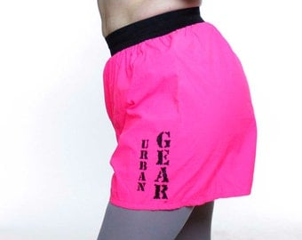 Vintage 90's bright pink fluorescent shorts, wide elastic waist, roomy seat, Urban Gear - XS / Small