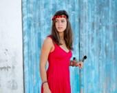Short Red Linen Dress / Summer Dress / Pure Linen / Crinkled Linen / Boho Beach Dress / Hand Made