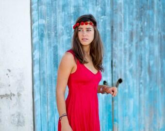 Linen Dress / Red Dress/Summer Dress / Short Linen Dress/ Beach Dress / Summer Holiday