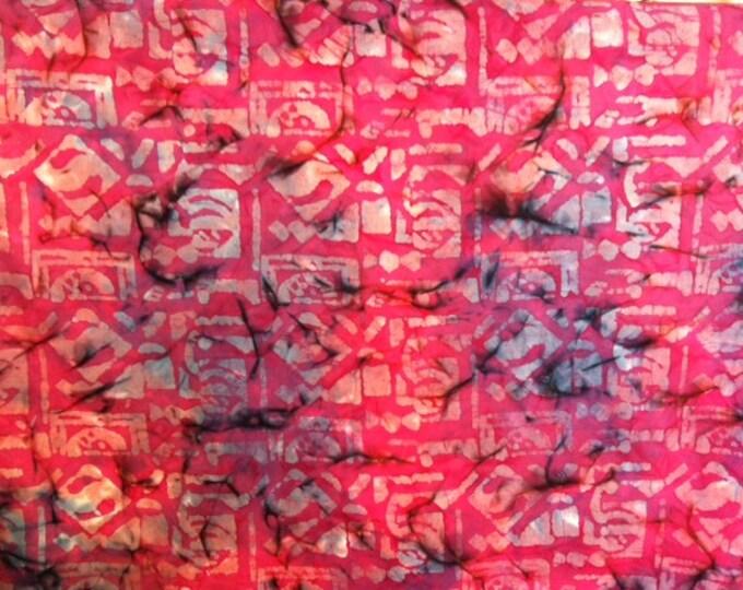 Fuchsia pink Hand dyed batik fabric quilt fabric by the yard Fat quarter 100% cotton fabric yardage