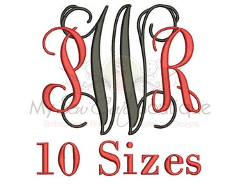 Embroidery Fonts PES - Vine Monogram Machine Designs for PES - 10 Sizes - Instant Download