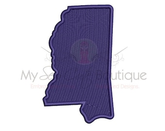 Mississippi State Embroidery Design - 10 Sizes - Instant Download