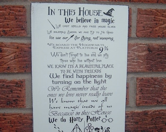 In This House Harry Potter We Do Magic  sign plaque