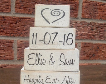 Shabby chic solid pine Happily ever after wedding personalized gift set wooden blocks shelf sitters