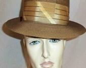 Vintage 1950s Adam Brand Mans Iridescent Cognac Milano Straw Pork Pie Hat