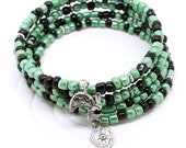 Southwestern Memory Wire Bracelet - Bright Green, Jet Black Glass Seed Beads, Choice of Rabbit or Heart Charms