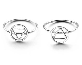Four Elements Alchemy Ring // Earth and Air Symbols // Sterling Silver Alchemy Elements Rings