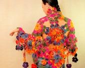Rainbow Crochet Shawl, Flower Shawl, Lace Shawl, Triangle Crochet Scarf, Cover Up, Boho, Gypsy, Hippie, Women Accessories, Gift For Women