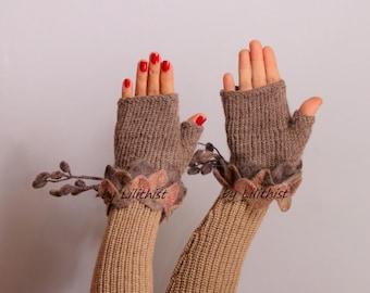 Brown Pink Knit Gloves, Knit Fingerless Gloves, Crochet Gloves, Crochet Fingerless Gloves Wool Arm Warmers Gift For Women, Wife, Girlfriends
