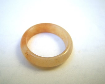 Orange Variegated Solid Stone Ring - Size 8 1/4 to 8 1/2