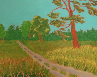 The Road to Camp, original painting of road leading to summer cottage, 24in x 24in
