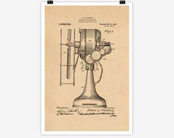 Patent Art Oscillating Electric Fan, 1912 - Large Patent Art Print Print Patent Art Print Wall Decor Vintage Art Patent Print Wall 20.