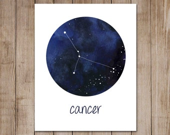 Cancer Print Zodiac Constellation Watercolor Astrology Horoscope Digital Art Print
