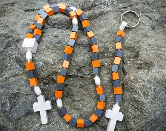 First Communion Gift Special-Lego Rosary and Lego Chaplet - The Original Catholic Lego Rosary - Orange and Gray for Boys Birthday Gift
