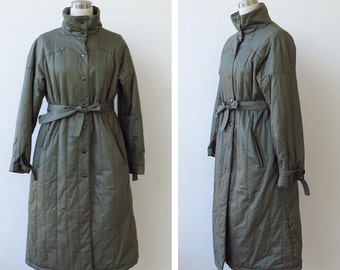 on SALE. Vintage Allander Quilted Long Coat Khaki Puffer Jacket Trench Coat L XL