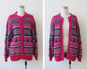 25% off Sale. 1980s Vintage Oversize Cardigan Sweater Hand Knitted Oversized Knit Multicolored Sweater
