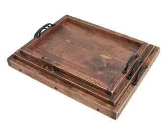 Nesting Trays, Ottoman Tray Set, Wooden Nesting Tray Set, Stacking Nesting Trays, Wedding, Anniversary Gift, Housewarming Gift