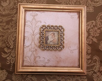 Madonna and child, gold tone decor, wall art, vintage inspired