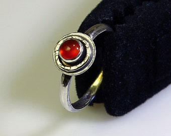 Size 8 Ring Handcrafted Sterling Silver Orange Red Carnelian Natural Stone July Birthstone Contemporary Artisan Jewelry Design 5200415691414