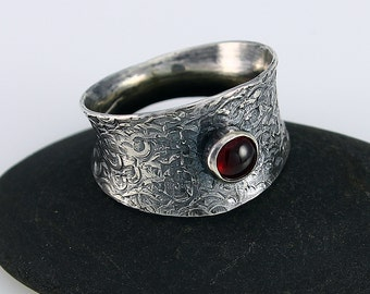 Handcrafted Size 6.5 Ring Sterling and Garnet Narrow to Wide Band Hand Stamped Design January Birthstone Artisan Jewelry Design 842341269814