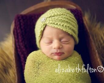 Newborn Baby Girl Turban Hat, Lime Green Newborn Turban, Newborn Rhinestone Bling Beanie, Newborn Baby Girl Photography Props
