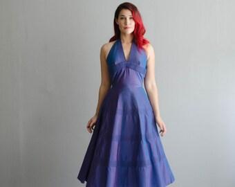 Vintage 1950s Halter Dress - 50s Party Dress - All About Eve Dress