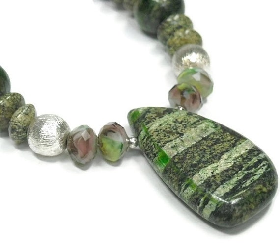 Rare Opal Jasper Necklace, Forest Green, Gemstone, Earthy, Woodland , Chunky, Opal Jasper Jewelry, Boho, Natural, Burgundy Freshwater Pearls
