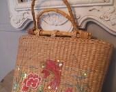 Vintage Cappelli Coy Fish and Floral straw bag ~ Bamboo Handles ~ Handbag