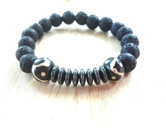 Black lava bracelet// mens stretch bracelet// mens yoga bracelet//hematite bracelet// The Yusef