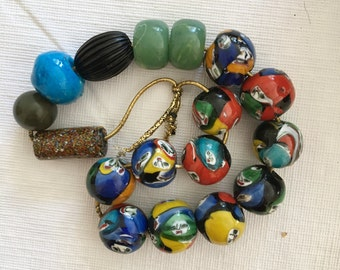 Ceramic Painted Beads, Large Colorful Strand of 11 Multicolor Beads with Extras for Jewelry, Crafts, Upcycling