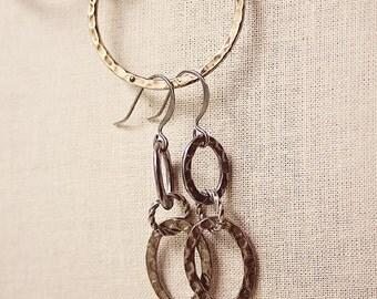 Handmade Earrings Antiqued Silver Earrings Antiqued Silver Hammered Ovals Silver Hammered Earrings Oval Dangle Earrings Hammered Silver