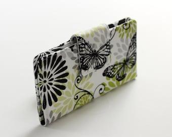 Women's Wallet, Butterfly Wallet in Black and White, Handmade Bifold Wallet in Green Butterfly - READY to SHIP