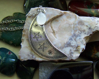 Hill Tribe Antiqued Silver Crescent Moon and Moonstone Pendant