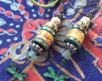 LOVE Sale boho  EARRINGS,hand painted earrings, beaded earrings, rustic earrings, lightweight earrings,dragonfly charm earrings,wood earring
