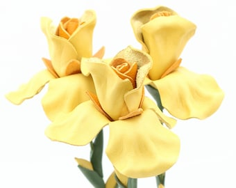 3 leather flower iris yellow spring Wedding Third Anniversary Gift Long Stem Flower Easter Wedding 3rd Leather Anniversary Mother's Day Prom
