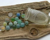 POTTED MARBLES - 15 Sea Marbles inside a Sea Worn Paste Pot - Scottish Beach Finds