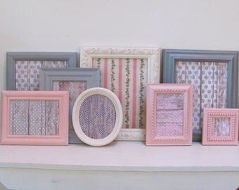 Gray, Pink, Cream Picture Frames, Set of 8  Grey, Cream and Pink Shabby Chic Wall Frame Collection, Girl's Room, Nursery Frame Set