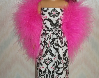 Handmade doll clothes -  white, pink and black print gown with pink boa