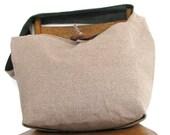CROSSBODY HOBO BAG - Hobo Purse - Cross Body Bag - Handmade Bag - Cross Shoulder Bag - Bohemian Bag - Large Bag - Cream Bag - Reversible Bag