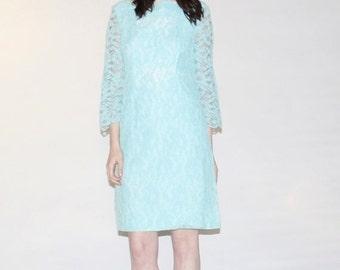 75% OFF FINAL SALE - Vintage 1960s Dress - Turquoise Blue Lace Dress  - Vintage Blue Lace Dress  -  The  Ocean's Secret Dress  - 1087